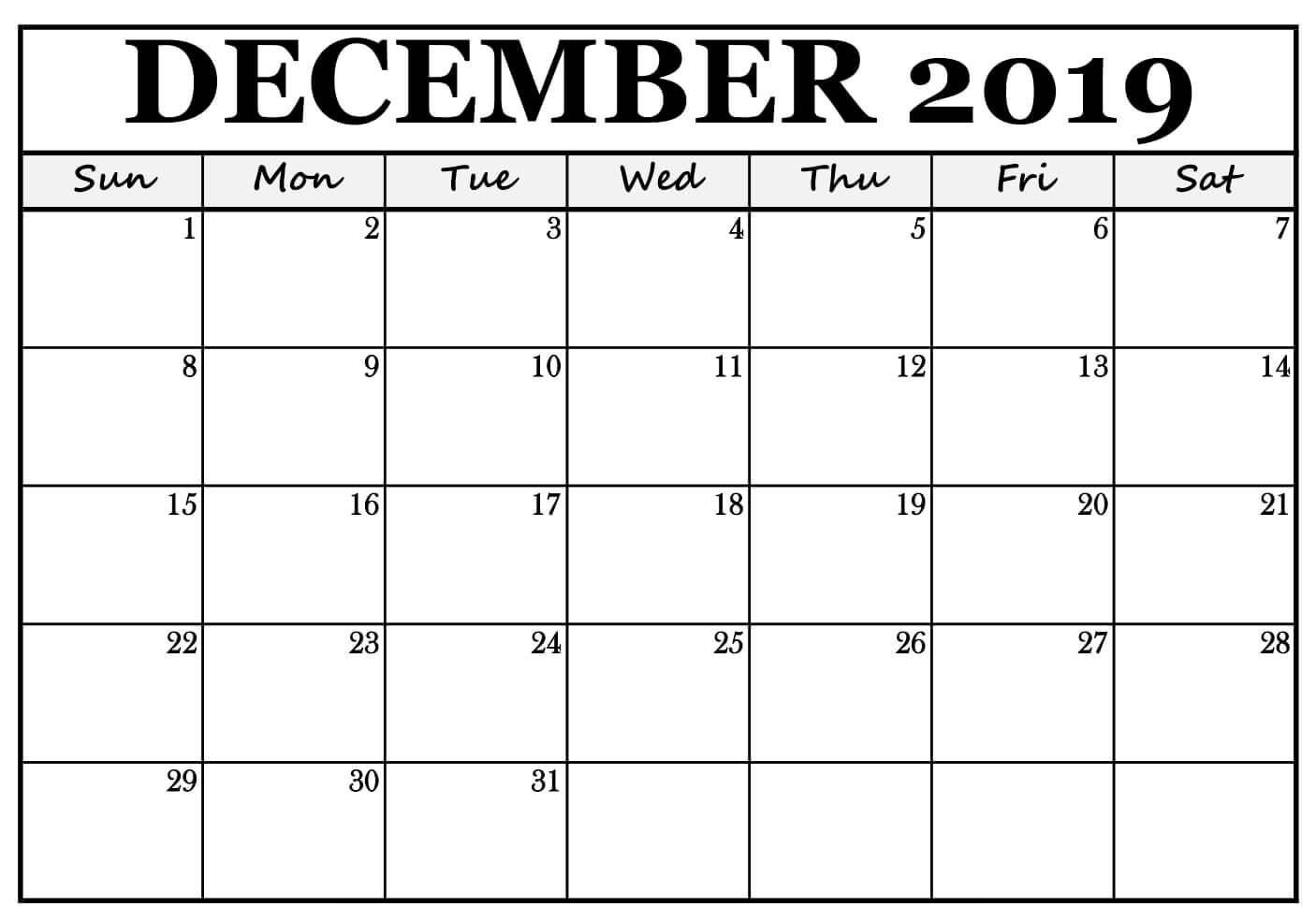 December 2019 Calendar Free Template