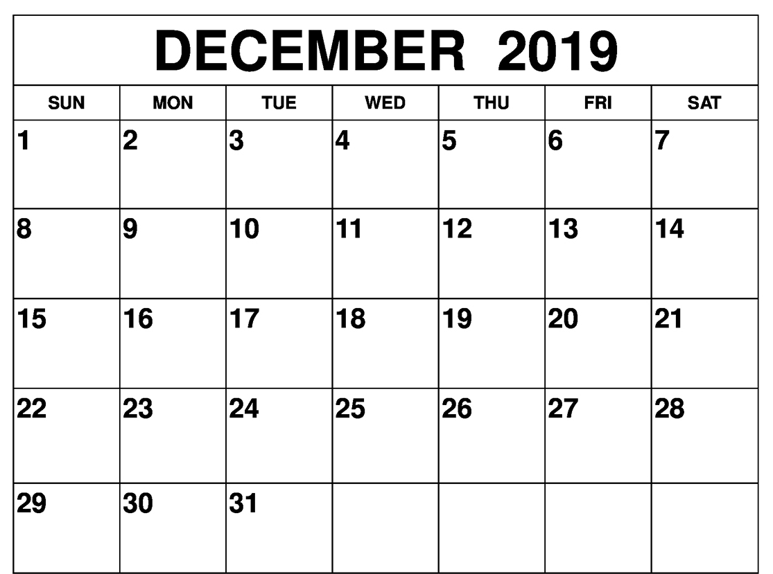 photo regarding Oct Calendar Printable Pdf called Absolutely free Blank December 2019 Calendar Printable Template within PDF