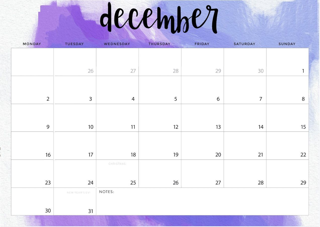 Decorative December 2019 Calendar