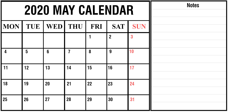 Download May 2020 Calendar Printable Templates