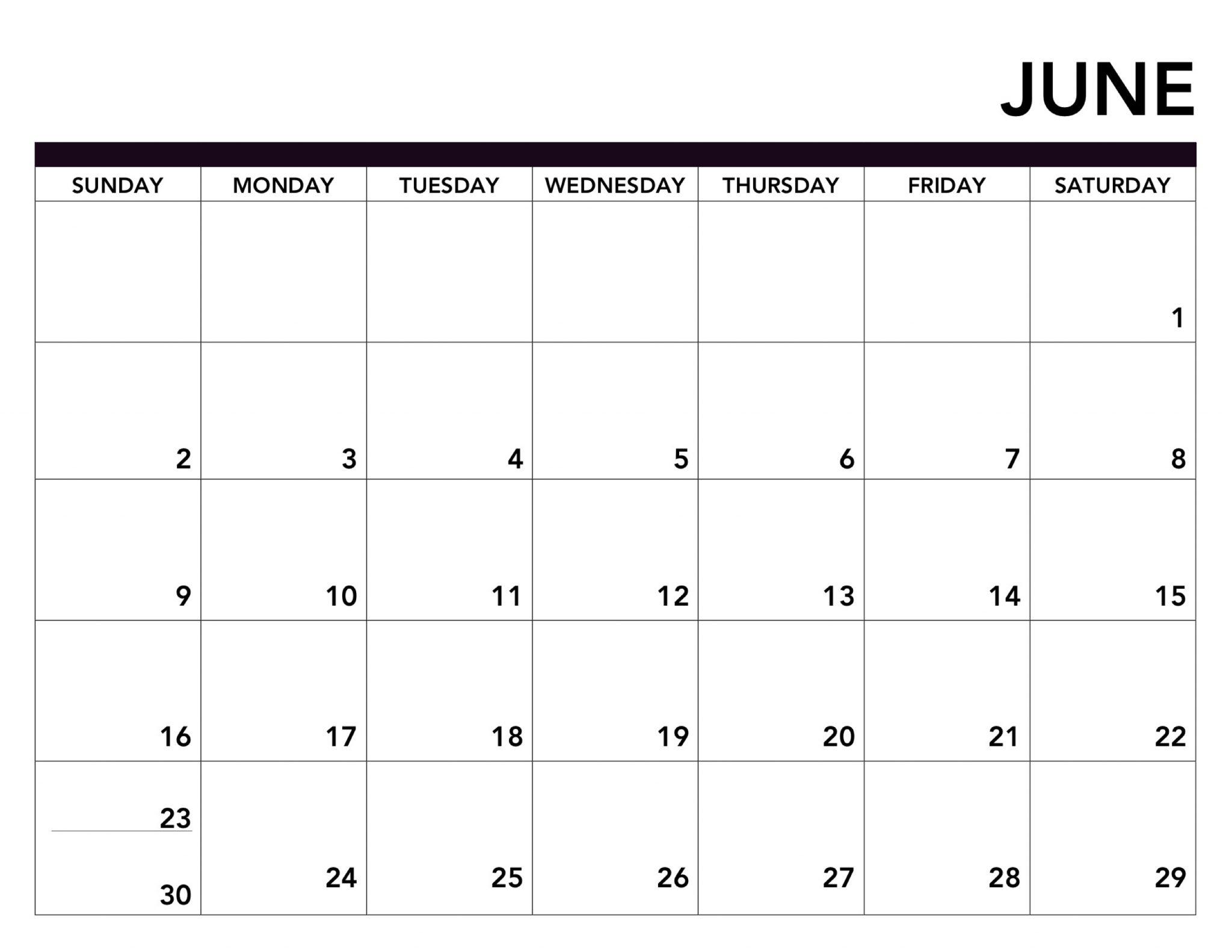 Editable June 2019 Printable Calendar