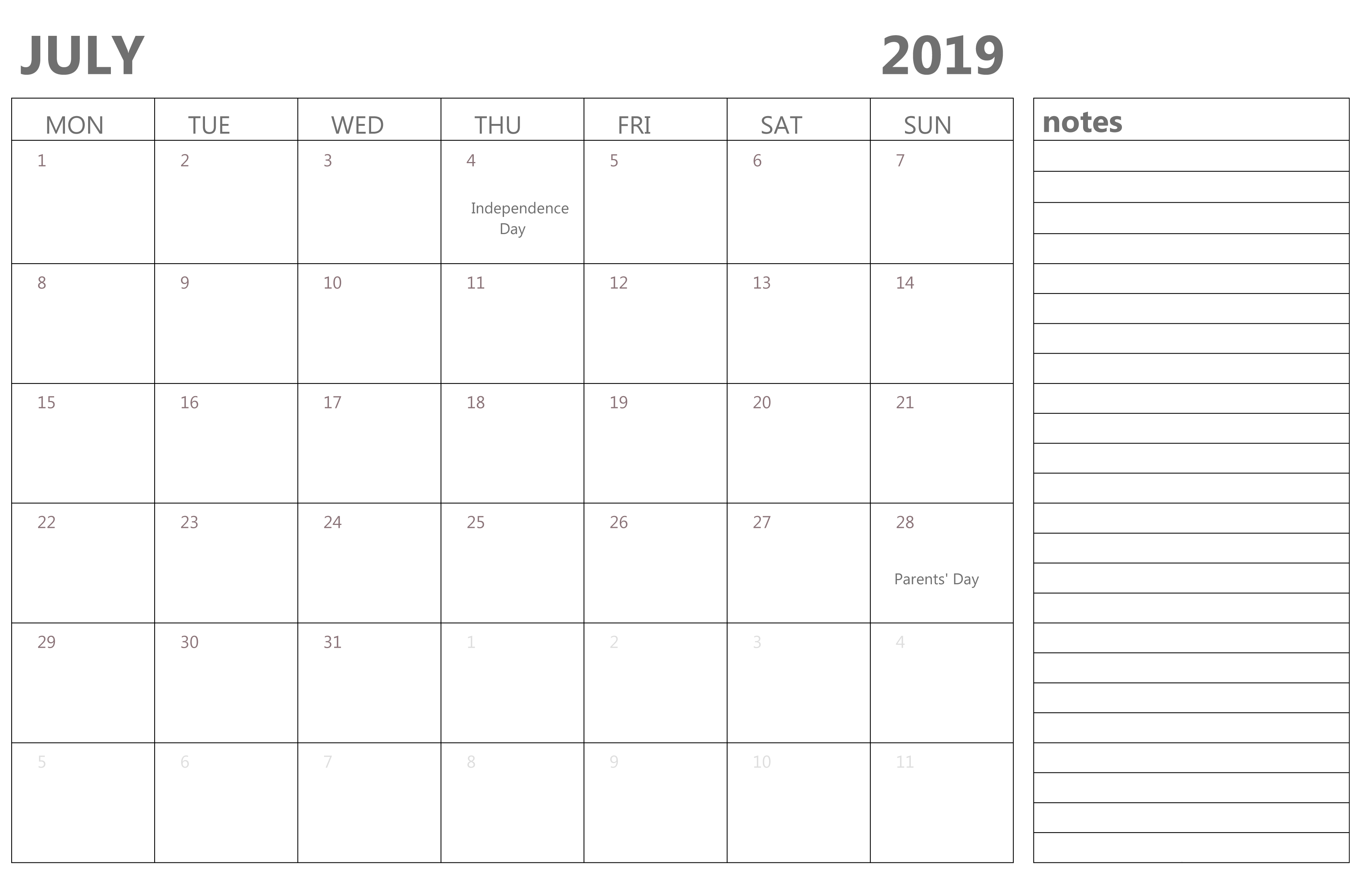 Fillable July 2019 Calendar with Notes