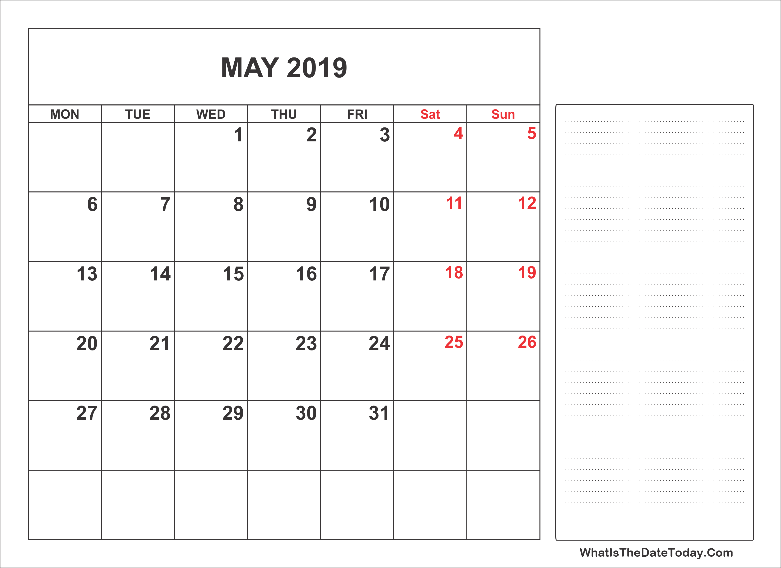 Fillable May 2019 Calendar with Notes