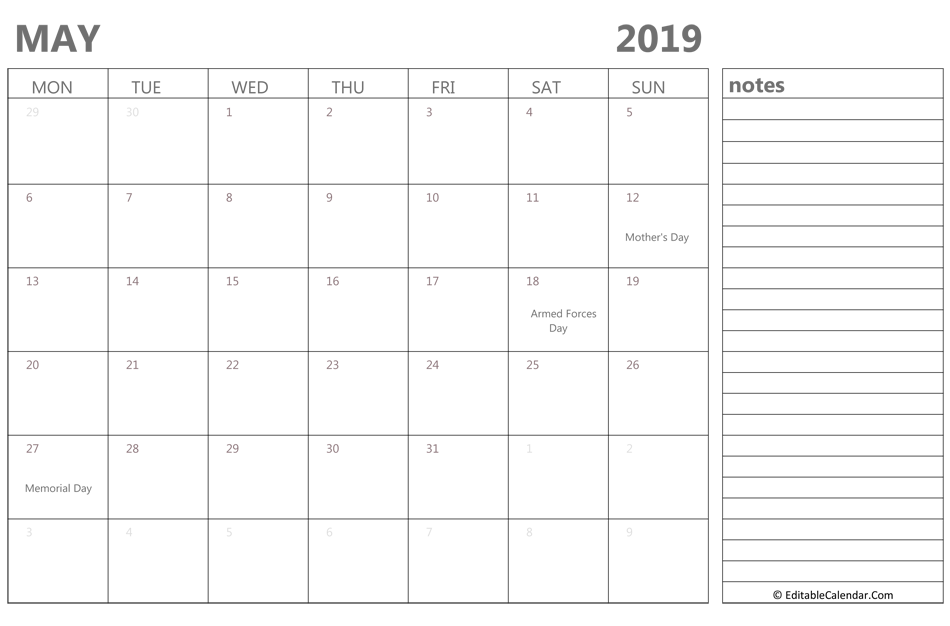 Fillable May 2019 Calendar