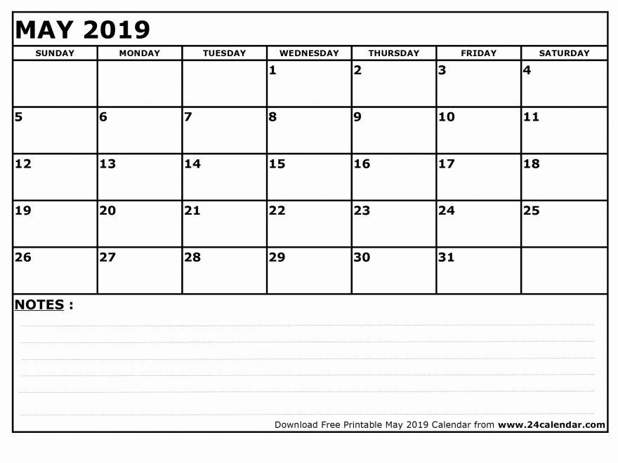 Fillable May Calendar 2019 Blank