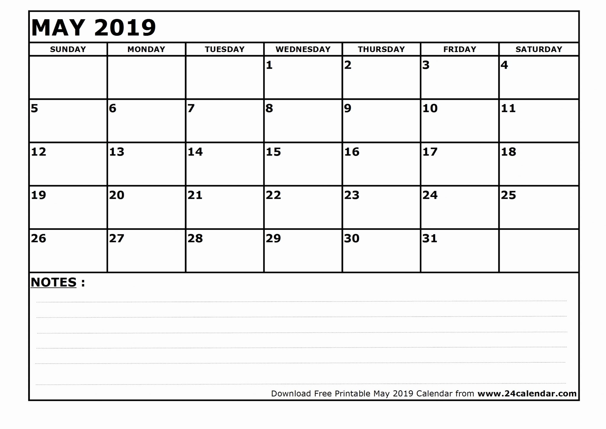 Fillable May Calendar 2019 Blank