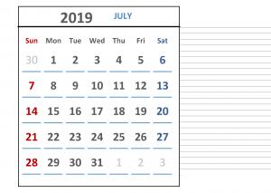 Free July 2019 Calendar Download