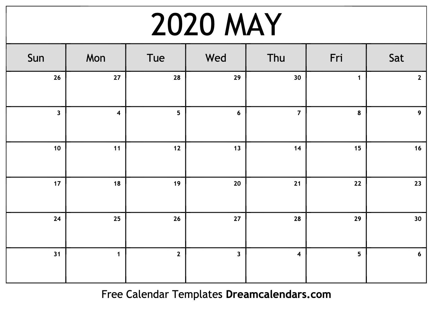 Free May Calendar 2020 Download