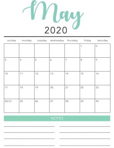 Free May 2020 Calendar Printable Template