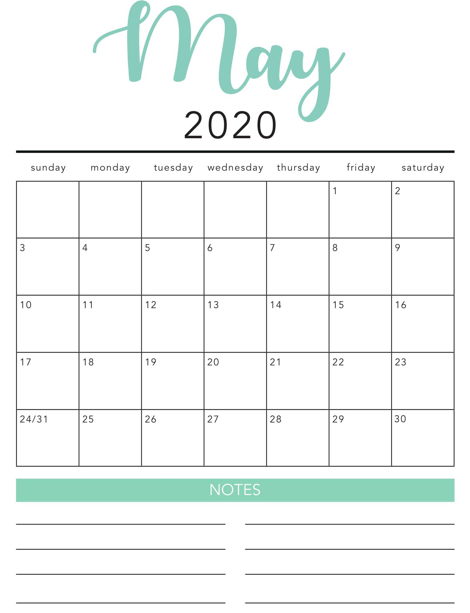 Free May 2020 Calendar Printable Template