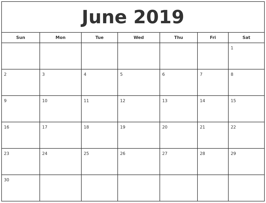 Free Monthly Calendar For June 2019