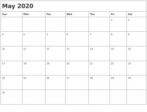 Free Monthly May 2020 Calendar