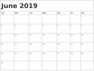 Free Printable June 2019 Calendar Blank Template
