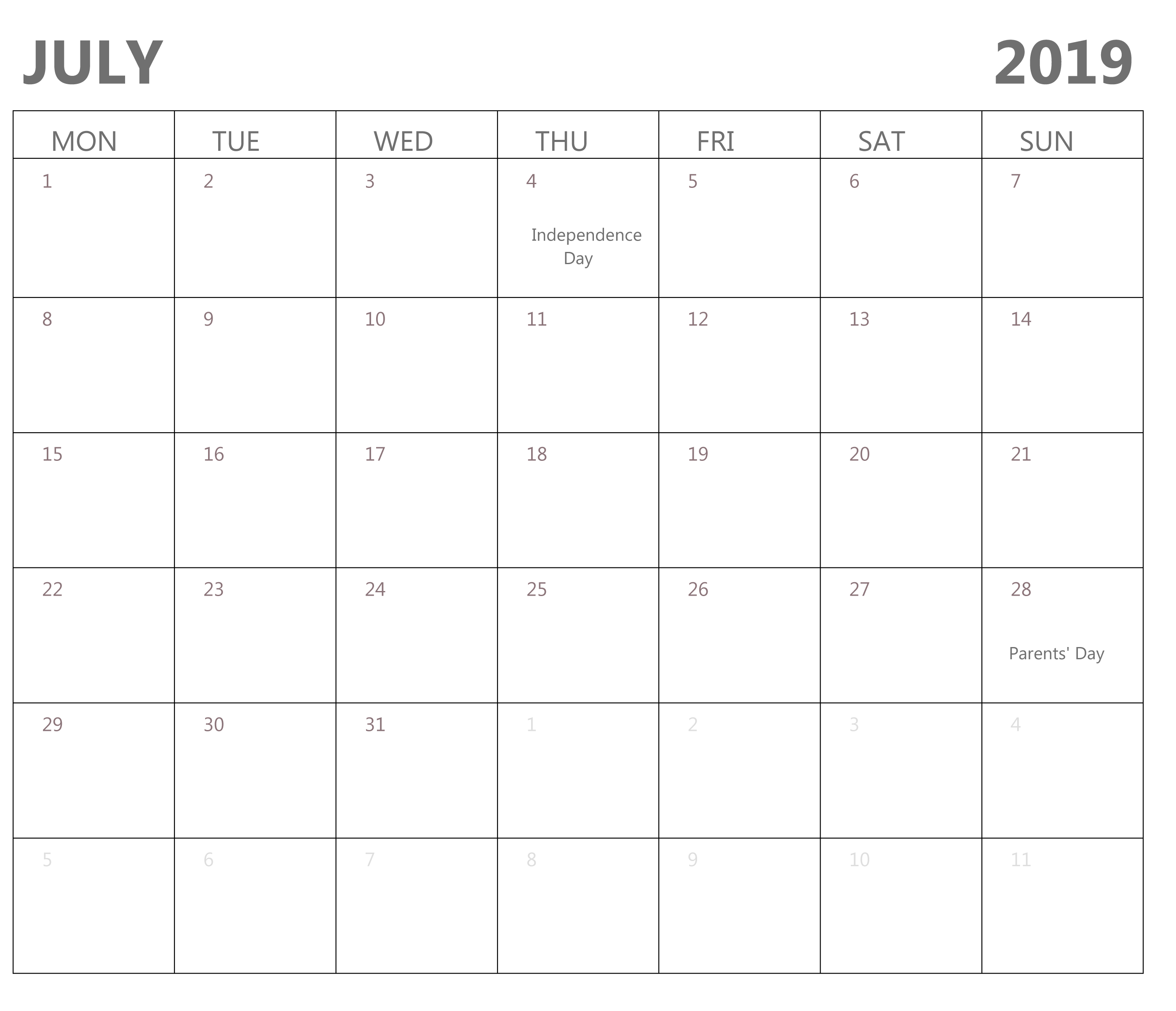 July 2019 Calendar Printable PDF