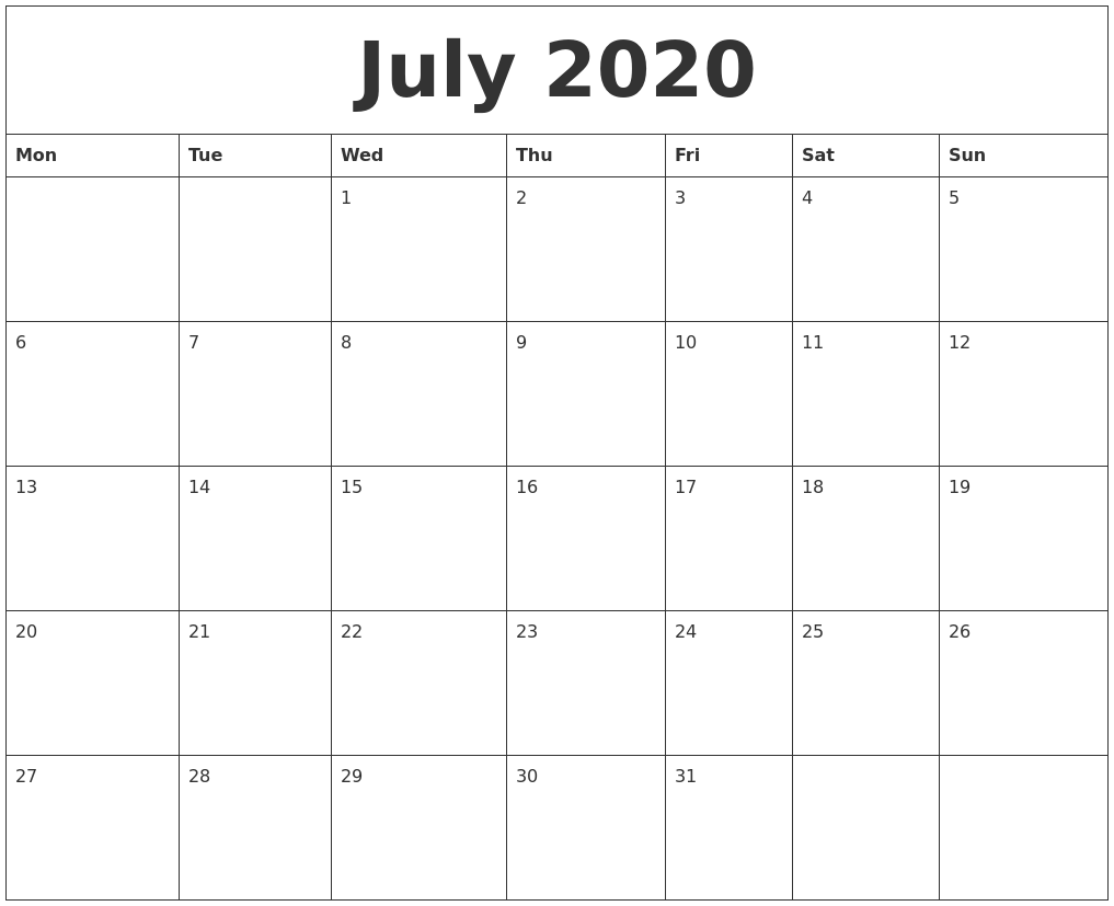 July 2020 Printable Calendar Pages