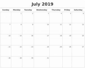 July Calendar 2019 Word