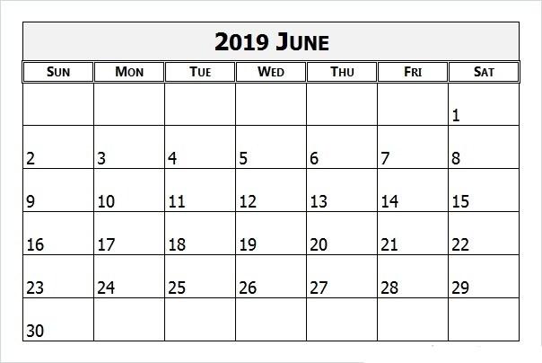 June 2019 Calendar Printable Template