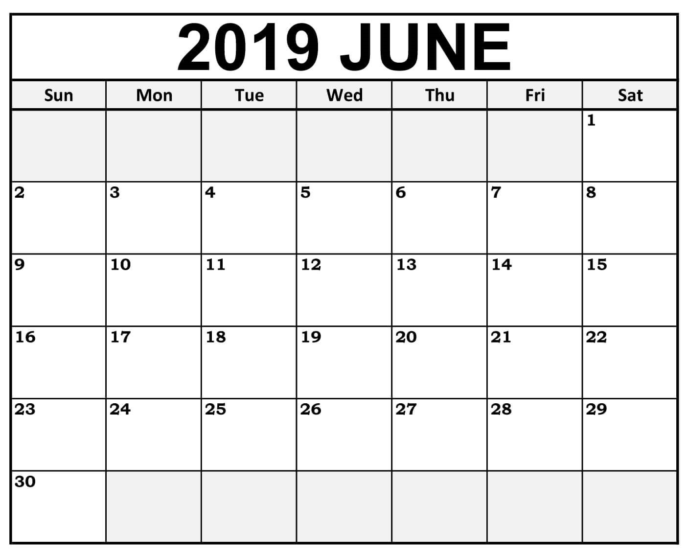 Blank June 2019 Printable Calendar.Get June 2019 Calendar Printable Blank Templates Fillable