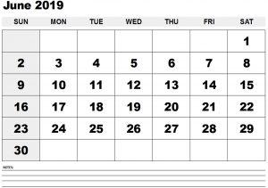 June 2019 Printable Calendar