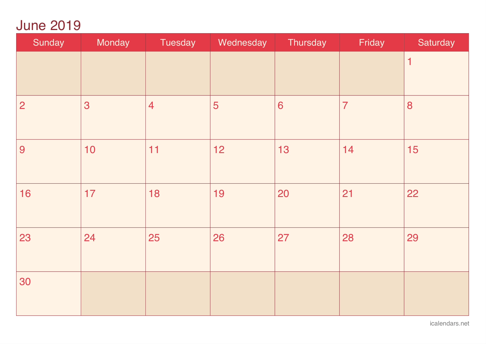 June 2019 Printable Calendar Color Theme