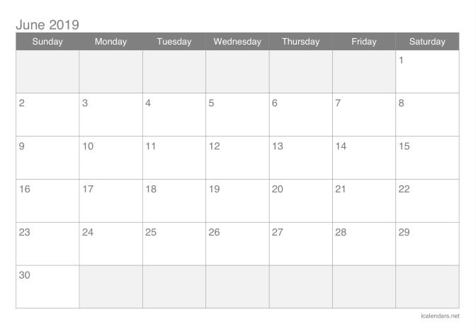 June 2019 Printable Calendar PDF
