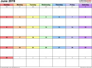 June 2019 calendar printable excel