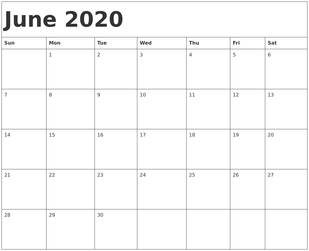 Print June 2020 Calendar Template Free