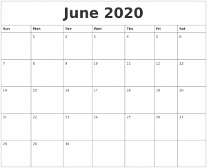 June 2020 Printable Calendar Free To Customize