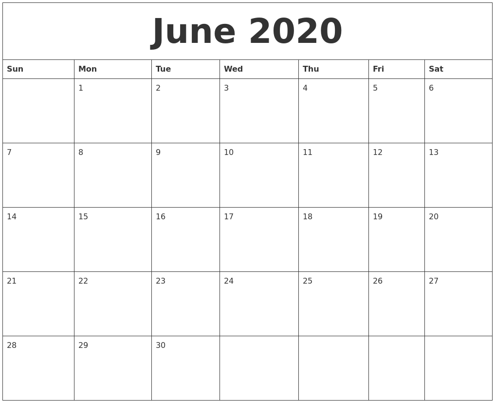 June 2020 Printable Calendar Free To Customize