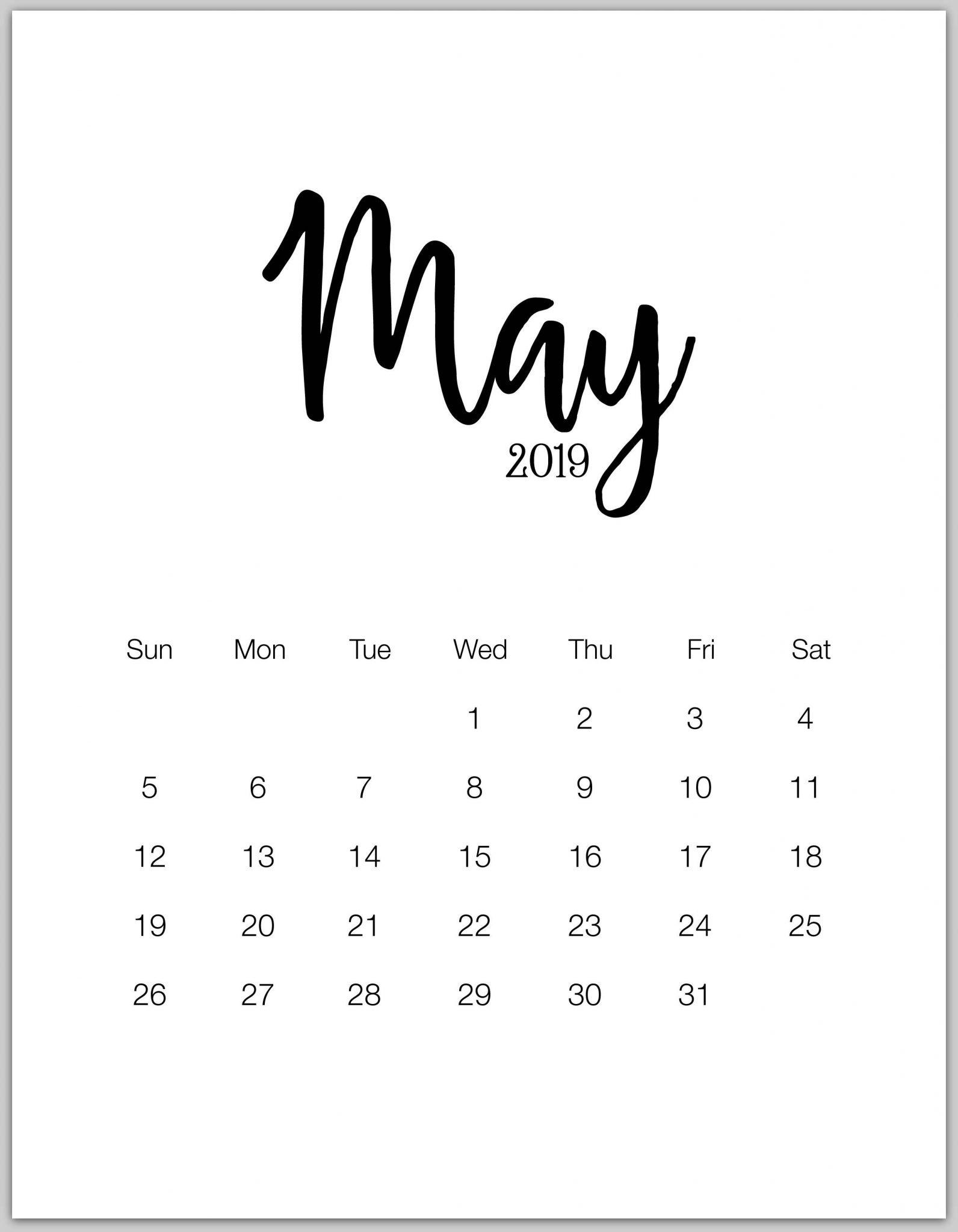 May 2019 Calendar Portrait Wallpaper