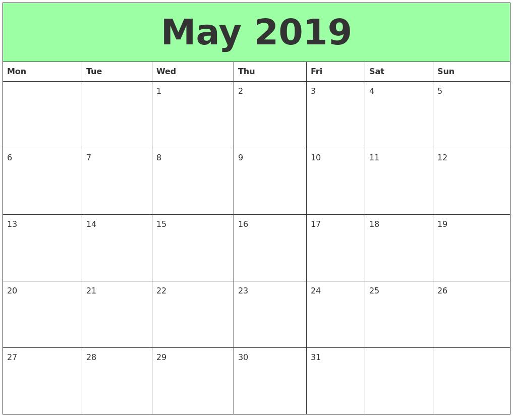 May 2019 Calendar Printable Excel