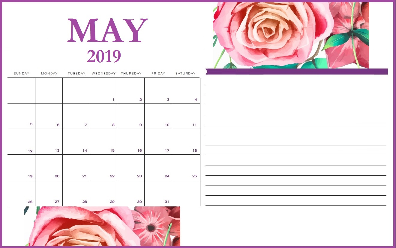 May 2019 Calendar Printable Notes