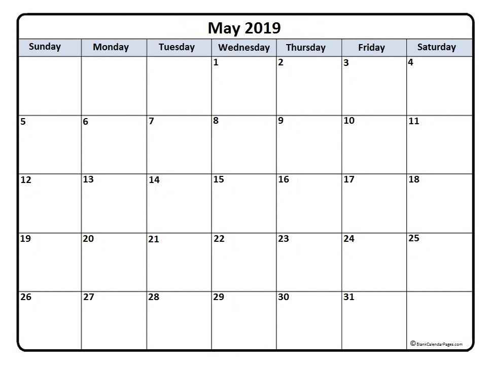 May 2019 Calendar Printable PDF