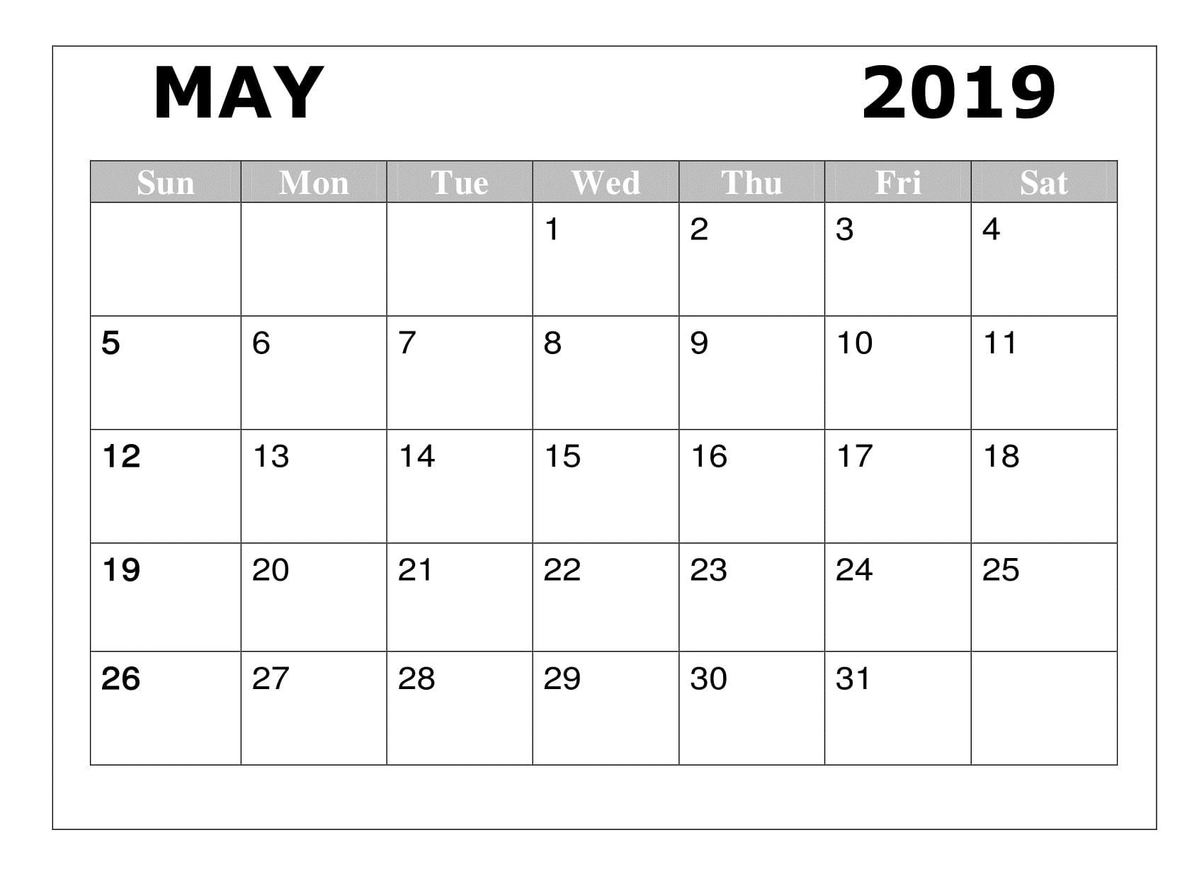 May 2019 Calendar Printable Template