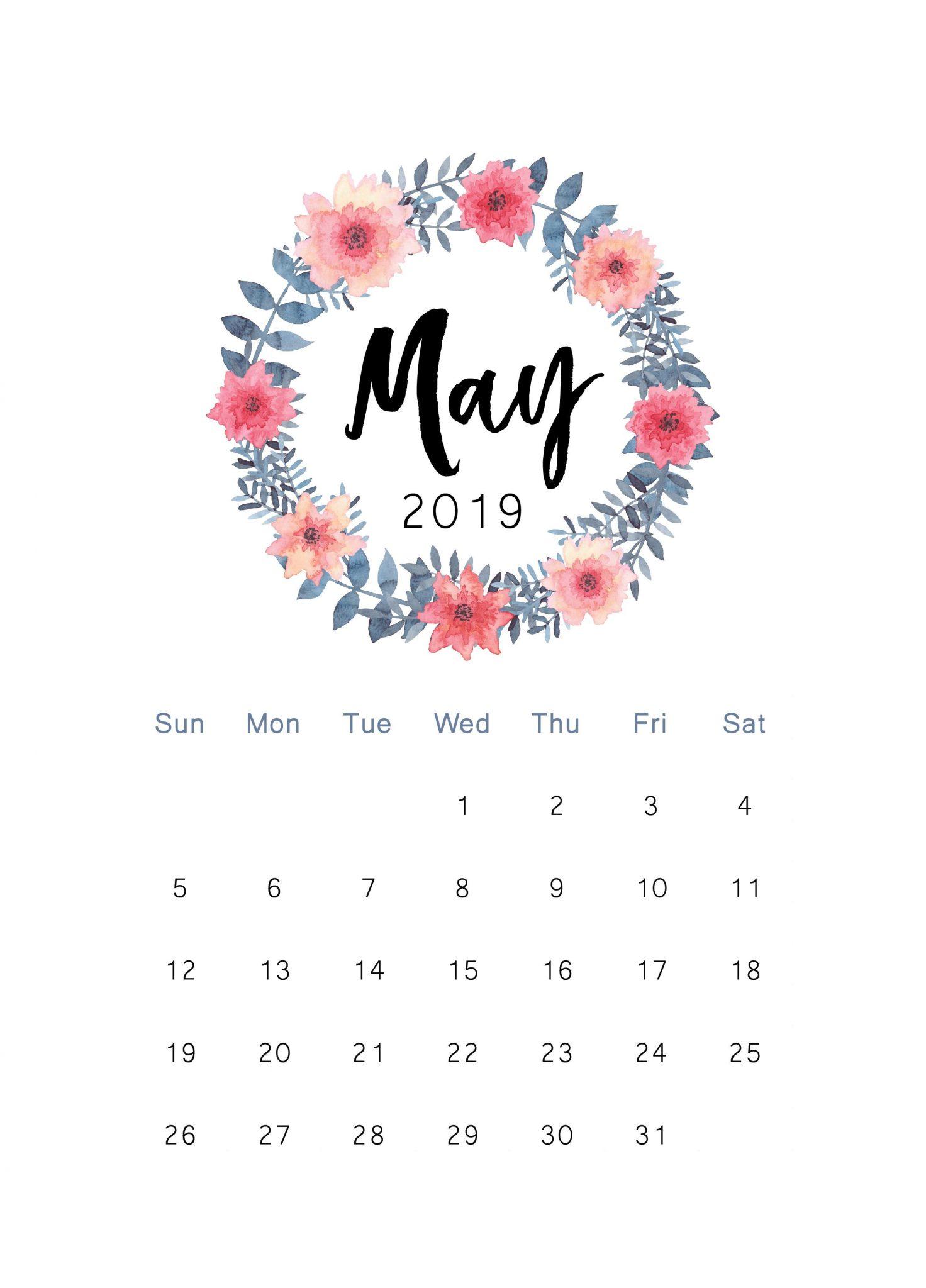 May 2019 printable calendar wallpaper