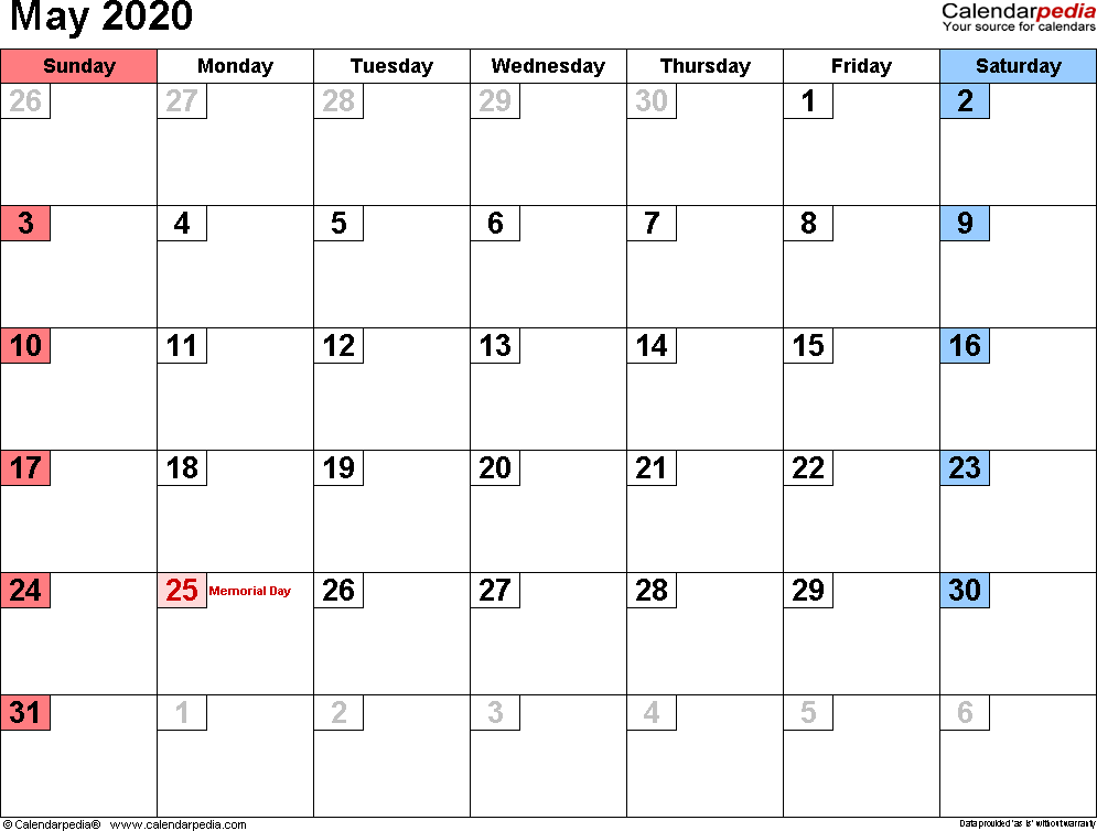 May 2020 Calendar For Word, Excel, PDF