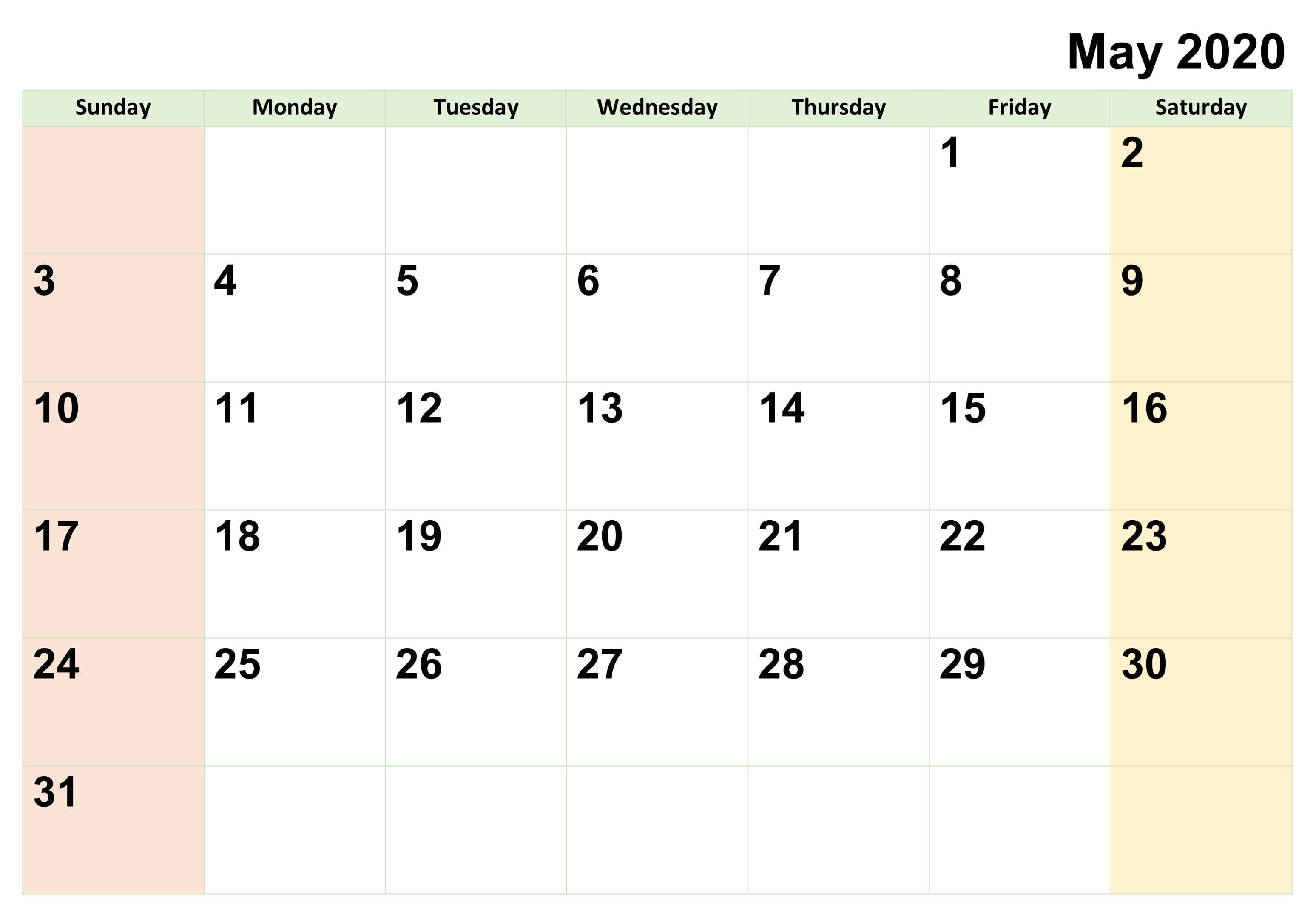 May 2020 Calendar Printable Blank