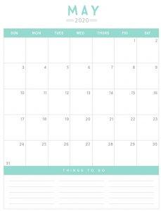 May 2020 Calendar Printable Page