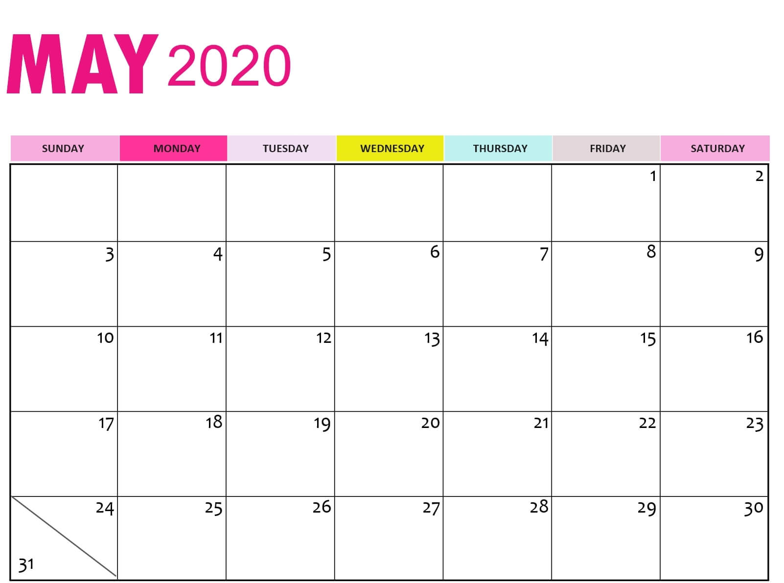 May 2020 Calendar Printable Word