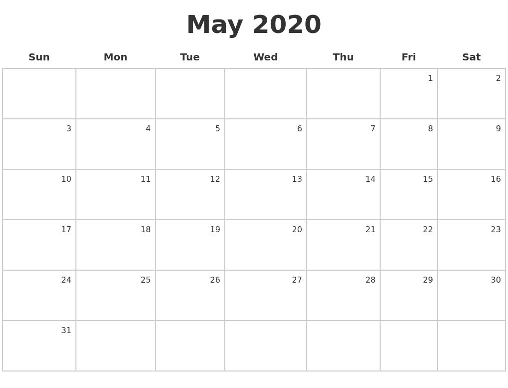 Calendar May 2020