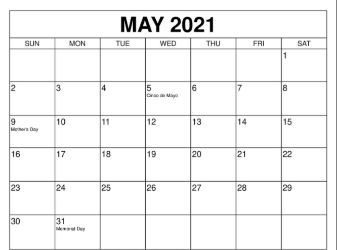 May 2021 calendar to print