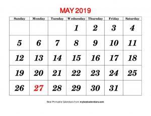 May Calendar 2019 Printable Template