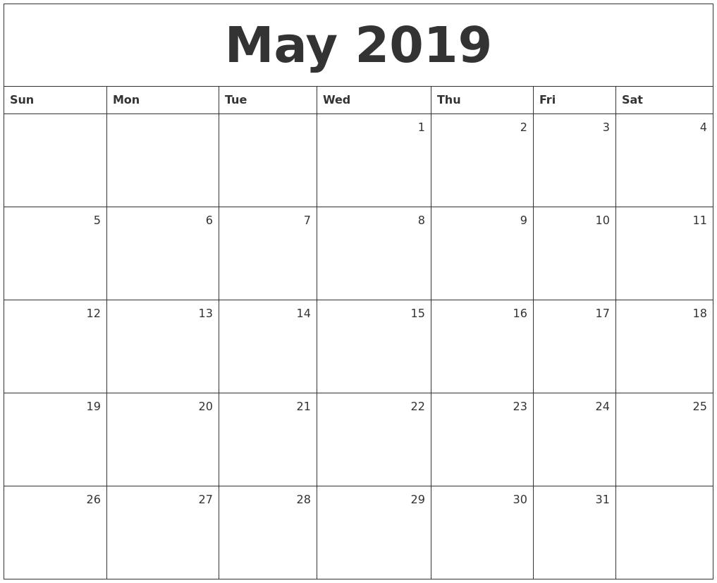May Calendar 2019May Calendar 2019
