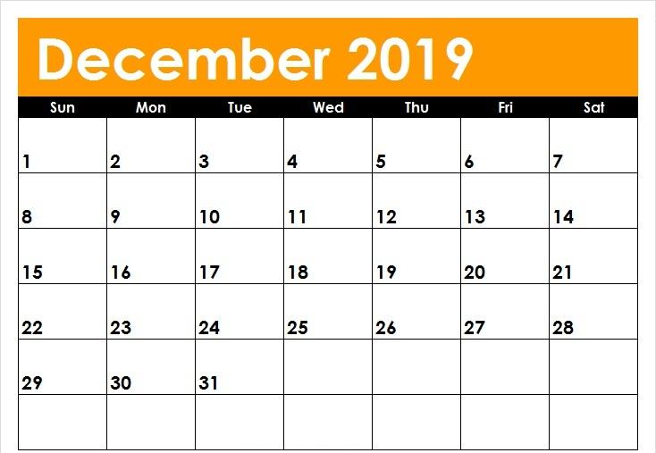 Month Calendar 2019 December To Print