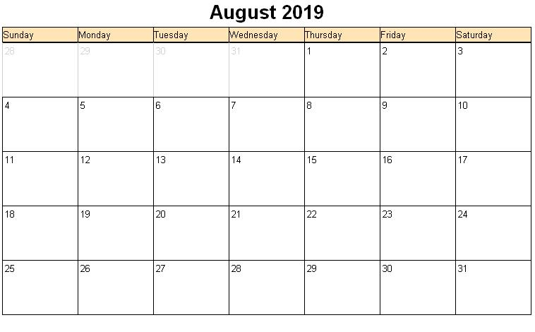 Print August 2019 Calendar