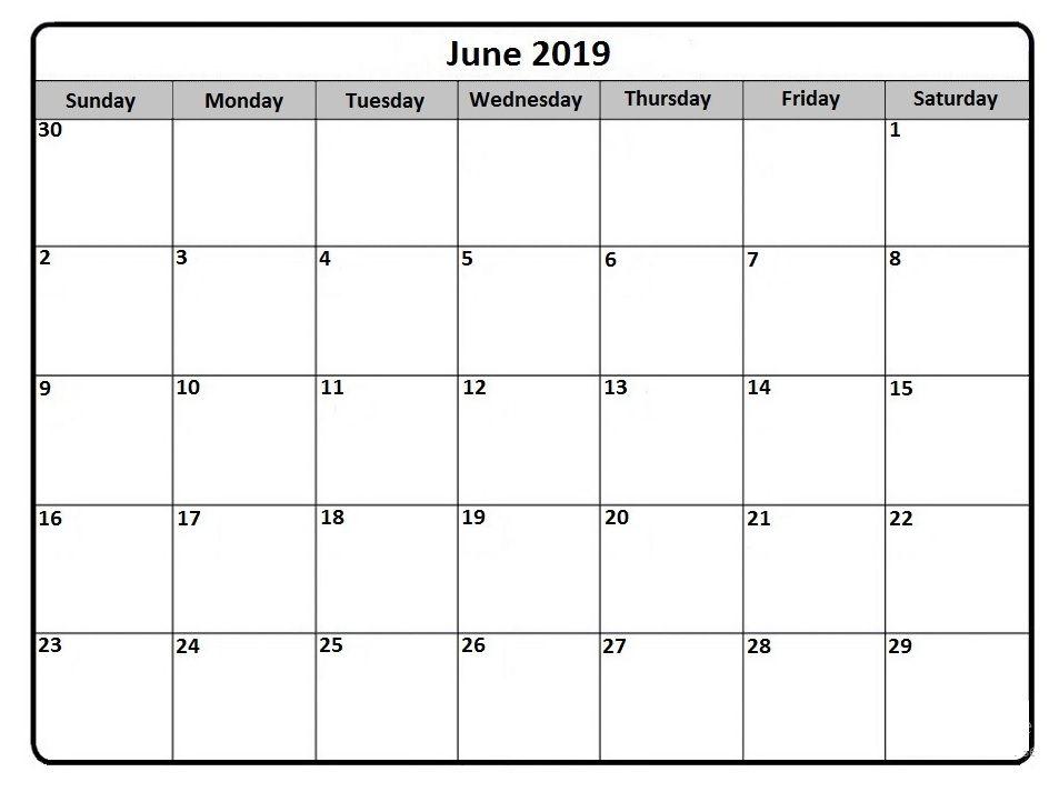 Print Calendar June 2019 Template