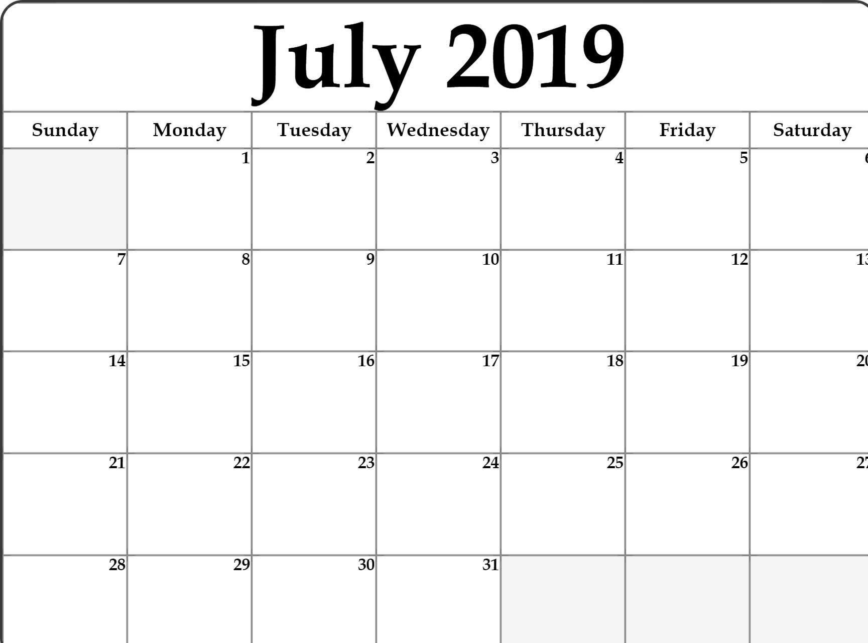 Print July 2019 Calendar Template