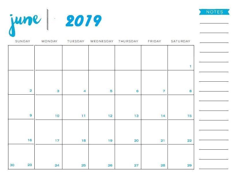 Print June 2019 Calendar Template