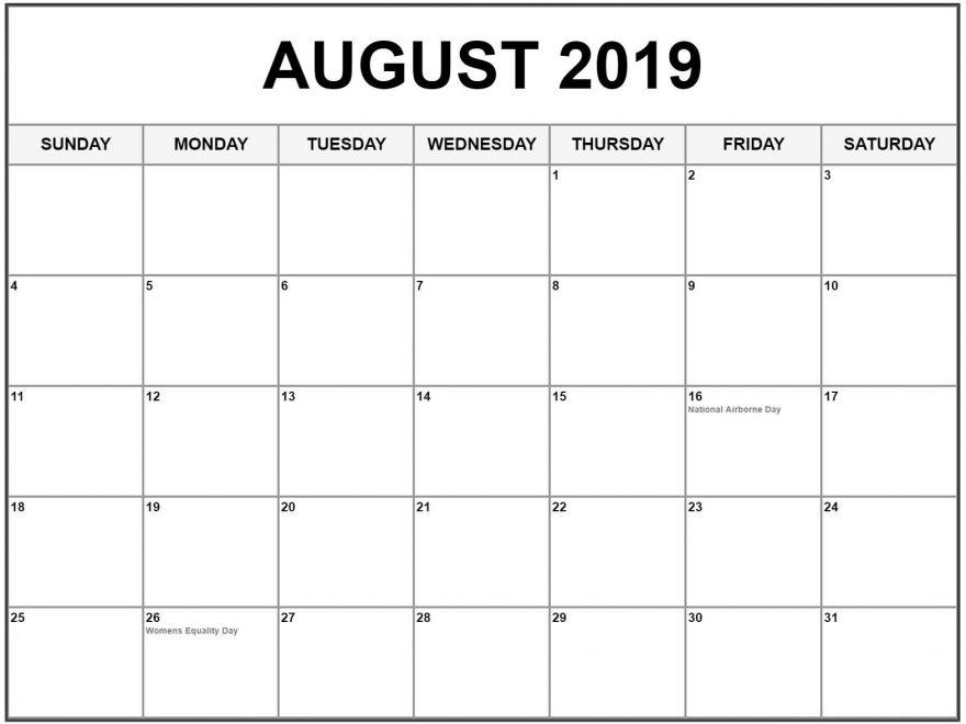 Printable 2019 August Calendar