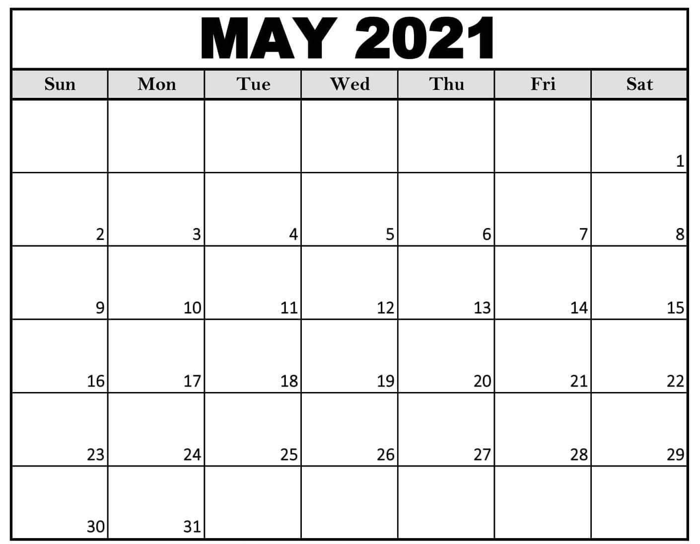 Printable 2021 may calendar